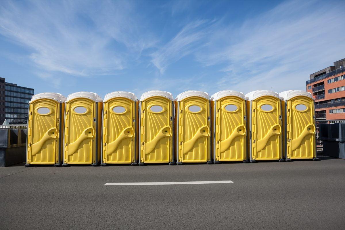Image of a row of porta john rentals